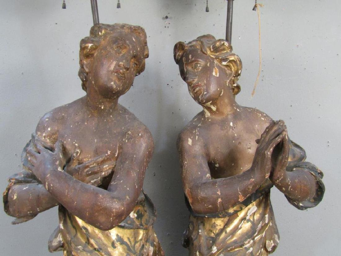 Pair Antique Figural Carved Lamps - 5