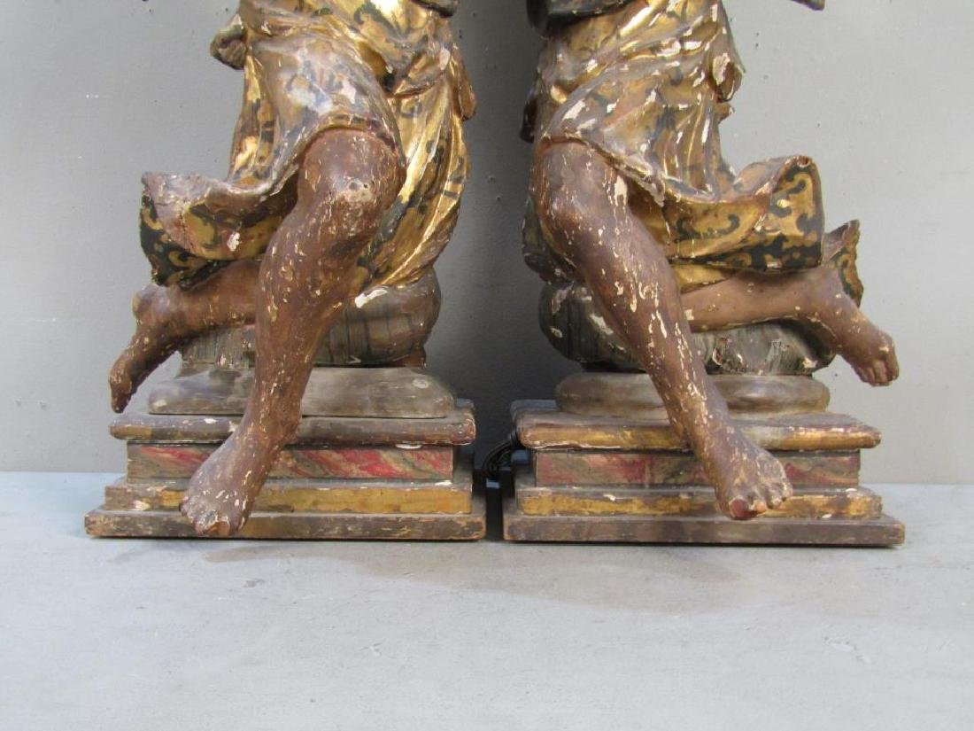 Pair Antique Figural Carved Lamps - 7