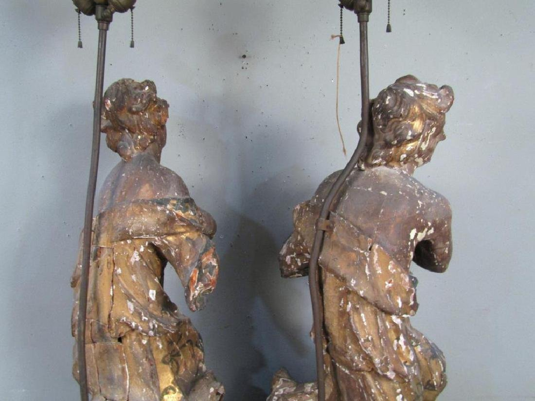 Pair Antique Figural Carved Lamps - 8