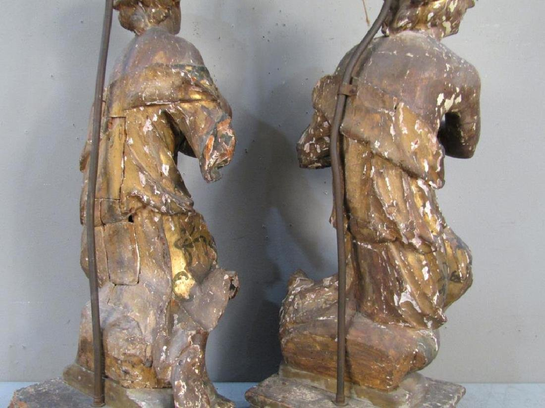 Pair Antique Figural Carved Lamps - 9