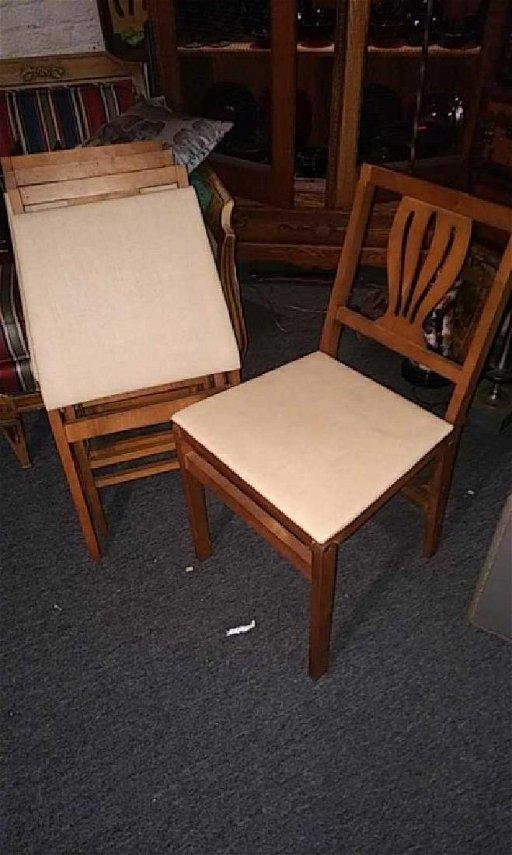 Set Of 4 Vintage Stakmore Folding Chairs Splat Jan 23