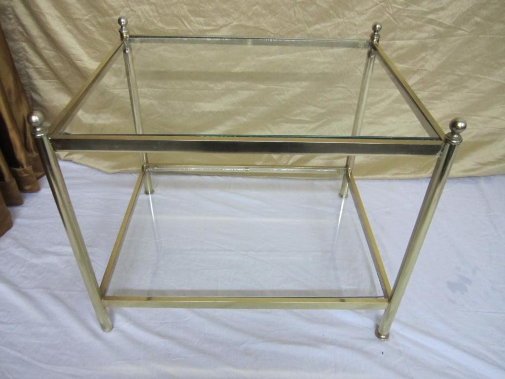 6: Modern Brass and Glass Occasional Table
