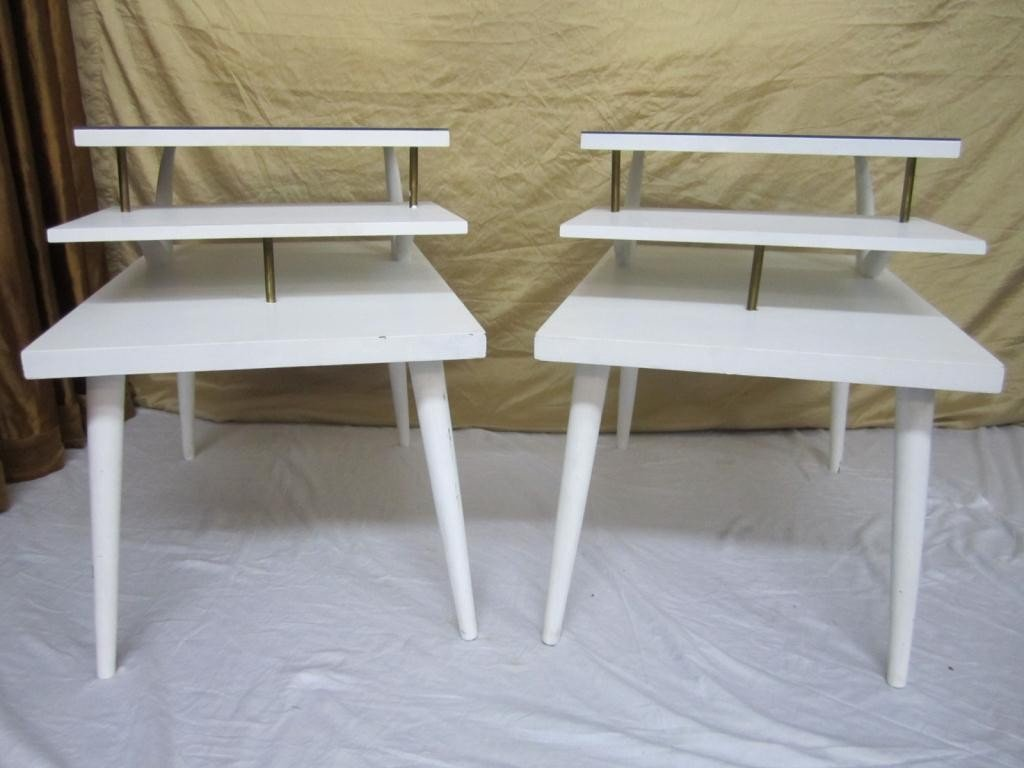 7: Pair Mid-Century Style Angular Step Tables