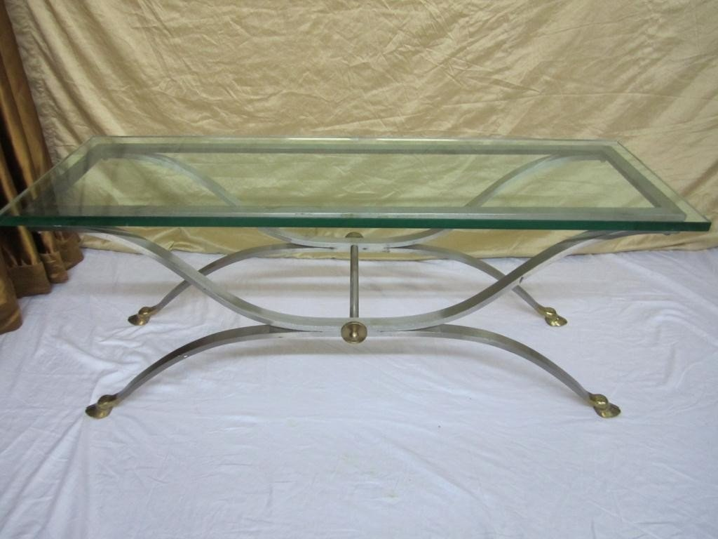 8: Modern Regency Style Mixed Metal Cocktail Table