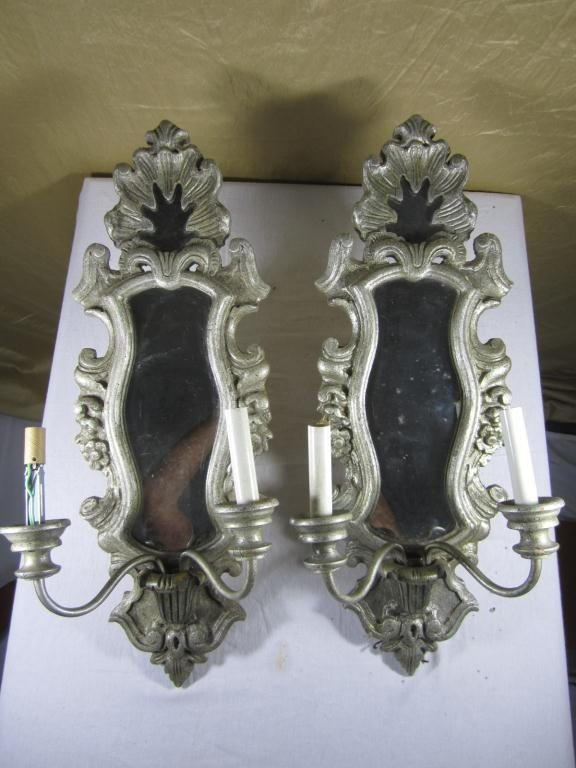 13: Pair Georgian Style Silvered Wood Sconces
