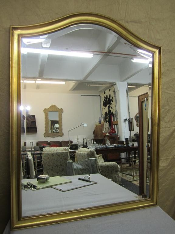 14: English Style Gilt Framed Domed Top Mirror