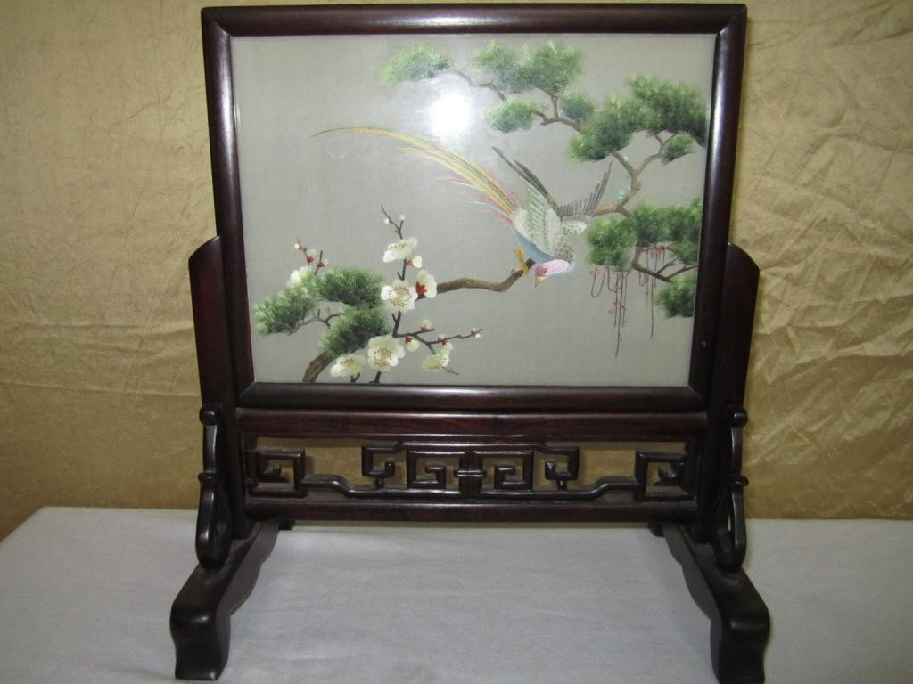 18: Chinese Double Sided Framed Table Screen