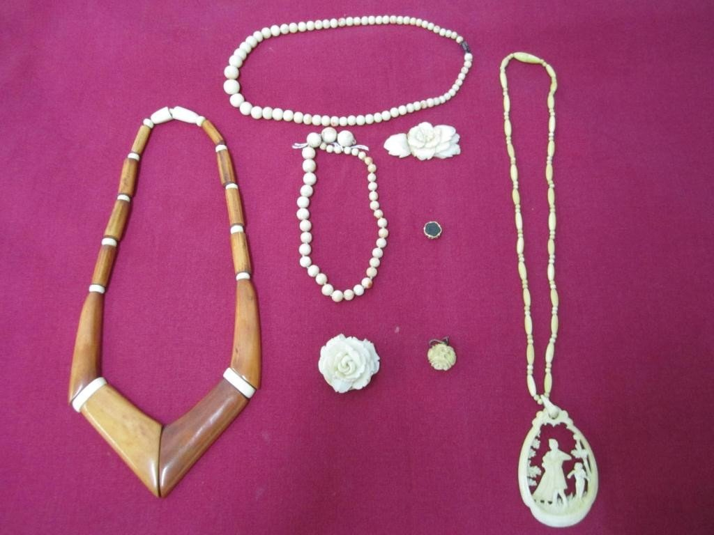13: Assorted Ivory and Bone Jewelry