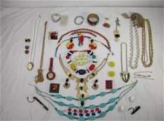 43 Large Lot Assorted Costume Jewelry incl silver