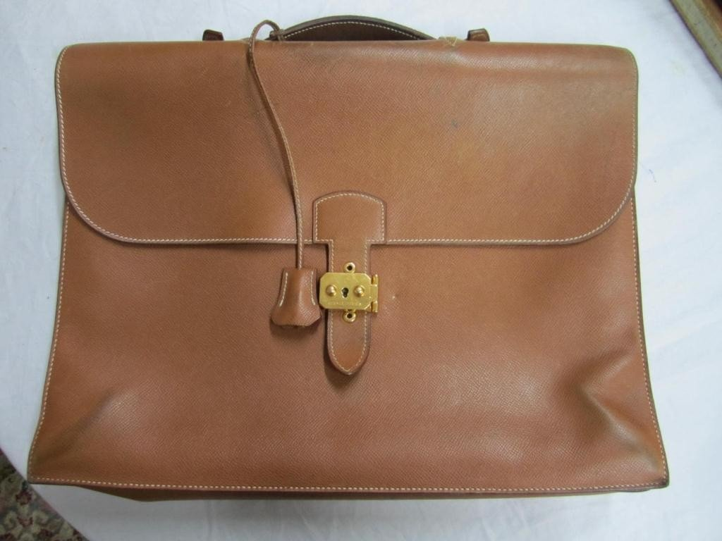 332: Hermes Brown Leather Mans Valise