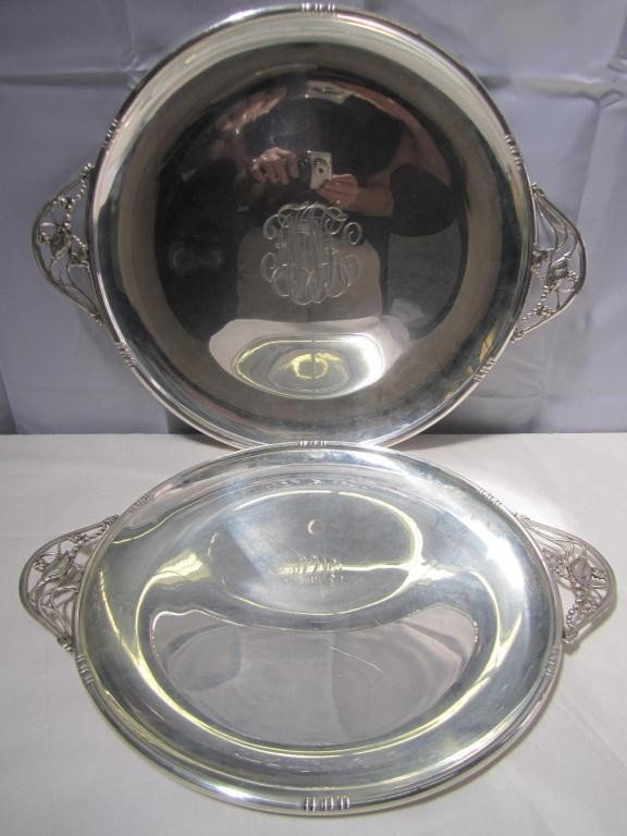 14: Set of 2 Sterling Art Deco Round Trays (52 oz.) ***