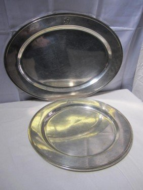 2 Large Art Deco Sterling Platters (76 Oz.) ***