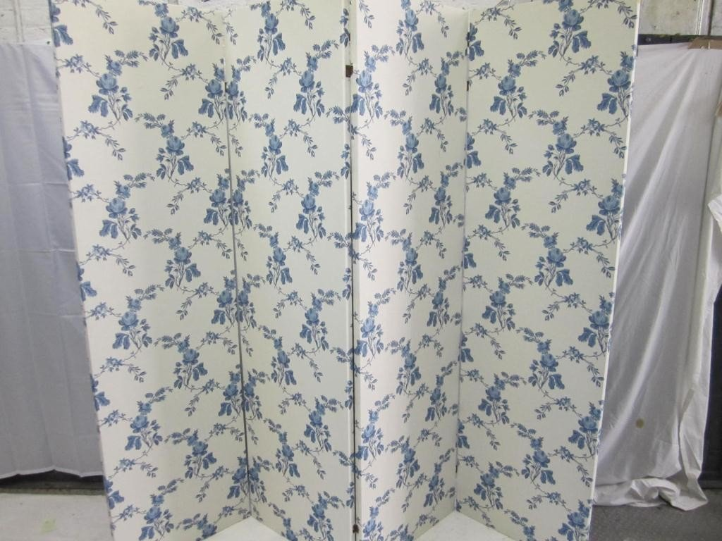 225: 4 Panel Blue and White Upholstered Floor Screen