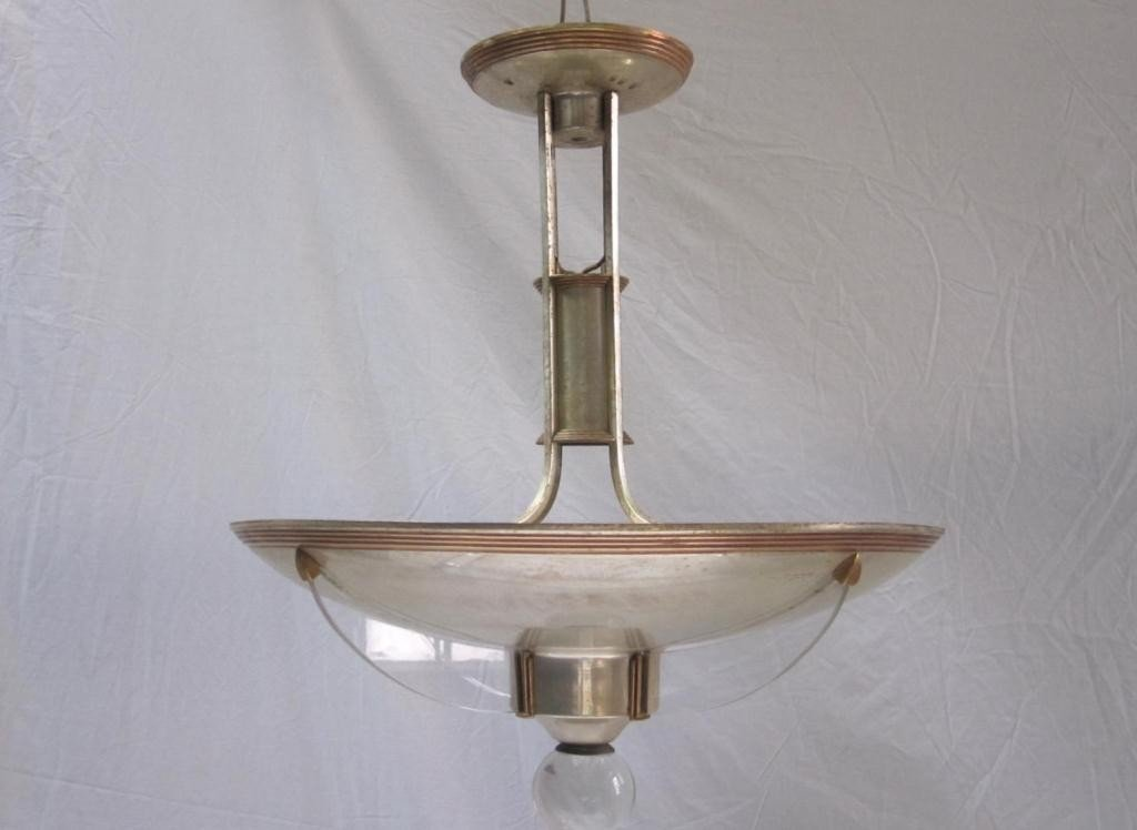 229: Mid-Century Mixed Metal Dome Fixture