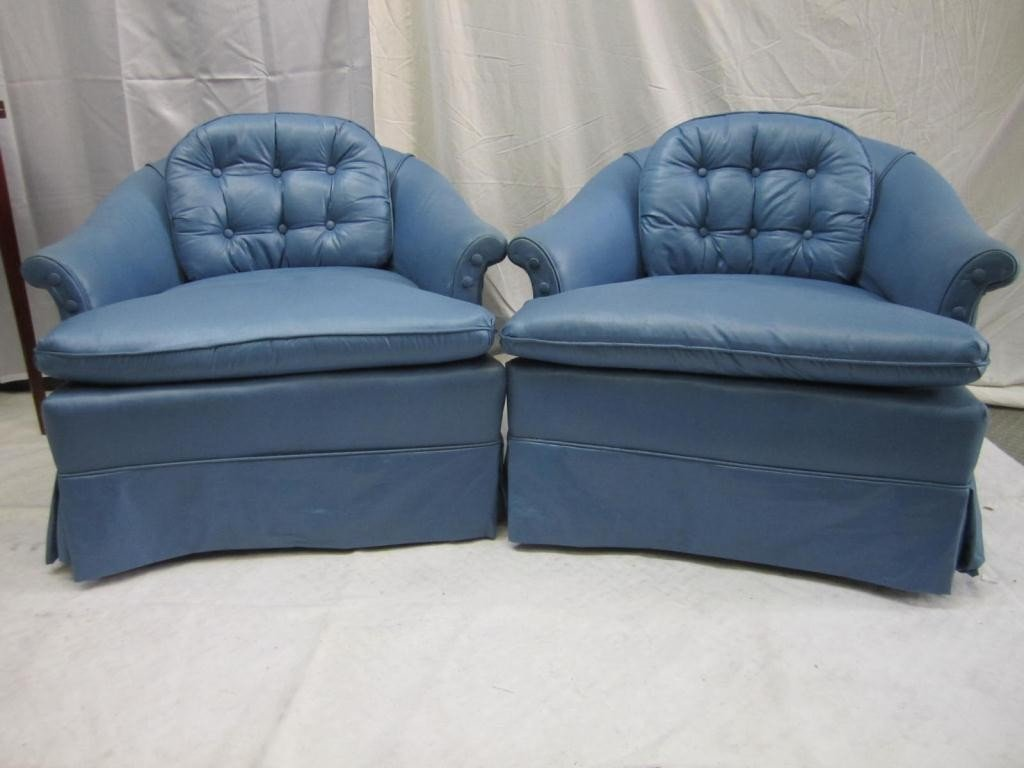 231: Pair Blue Satin Upholstered Swivel Chairs