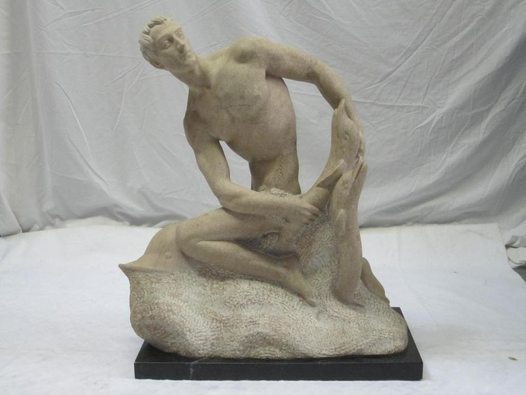 241: French Art Deco Carved Marble Sculpture