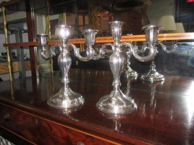 22: Pair Continental Silver Candleabra