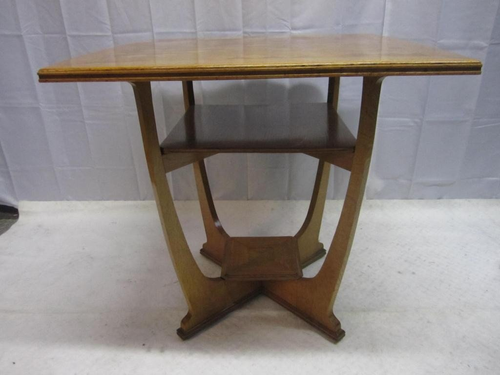 5: Art Deco Golden Oak Tiered Occasional Table