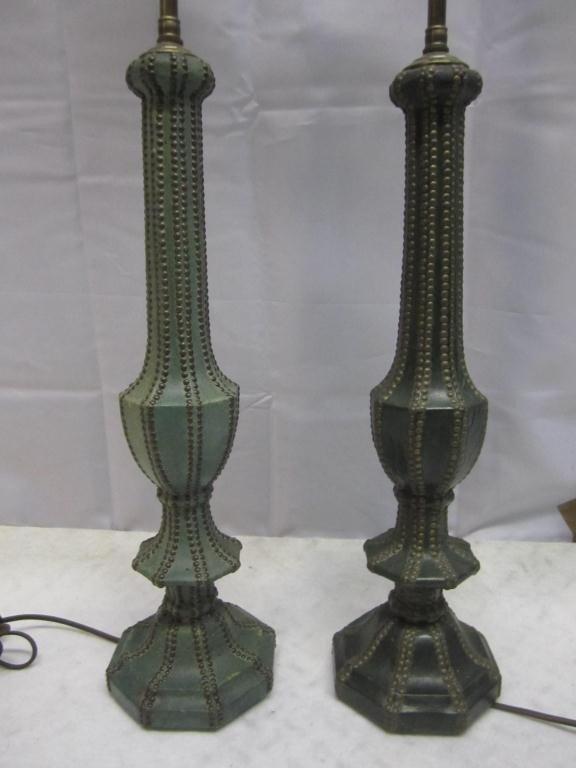 8: Pair Art Deco Leather Studded Vasiform Lamps