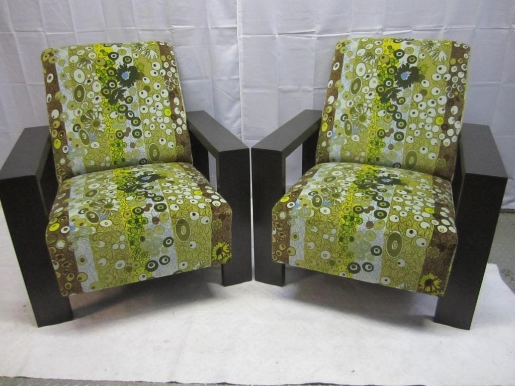 9: Pair Art Deco Style Squared Club Chairs