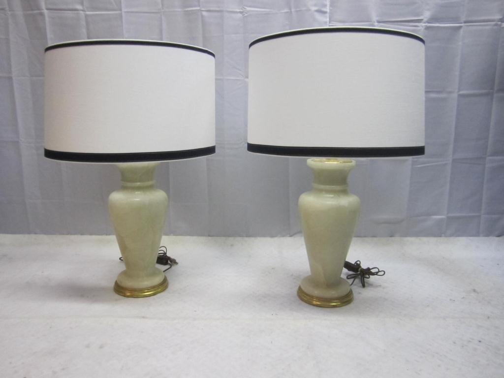13: Pair Art Deco Marble Vase Lamps