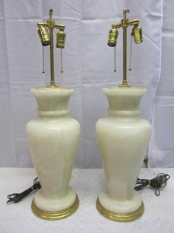 13: Pair Art Deco Marble Vase Lamps - 2