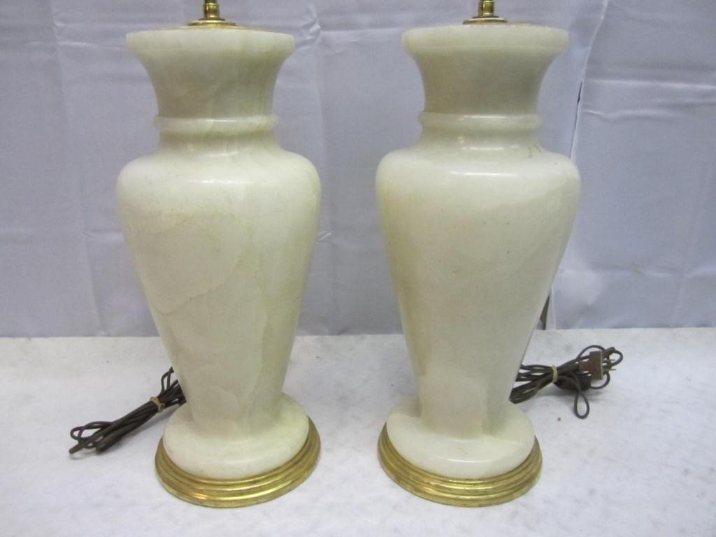 13: Pair Art Deco Marble Vase Lamps - 3