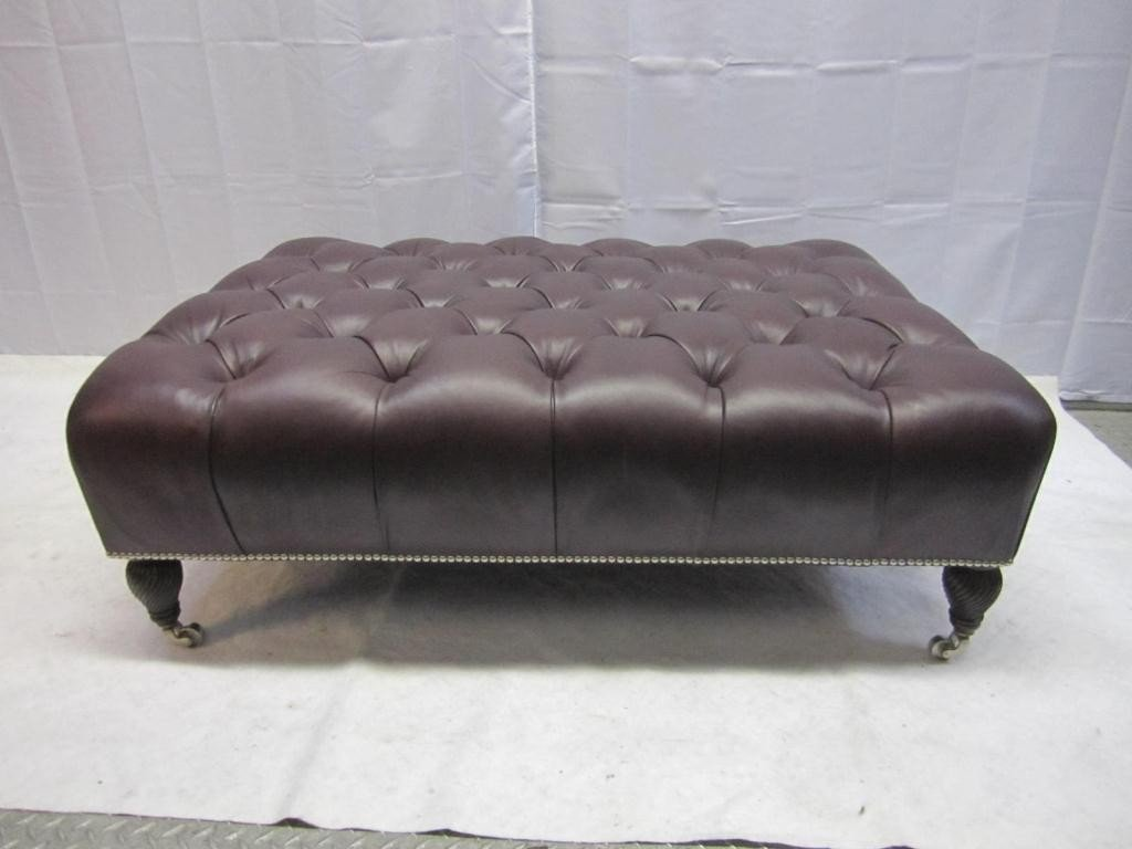 15: Chesterfield Style Large Leather Ottoman