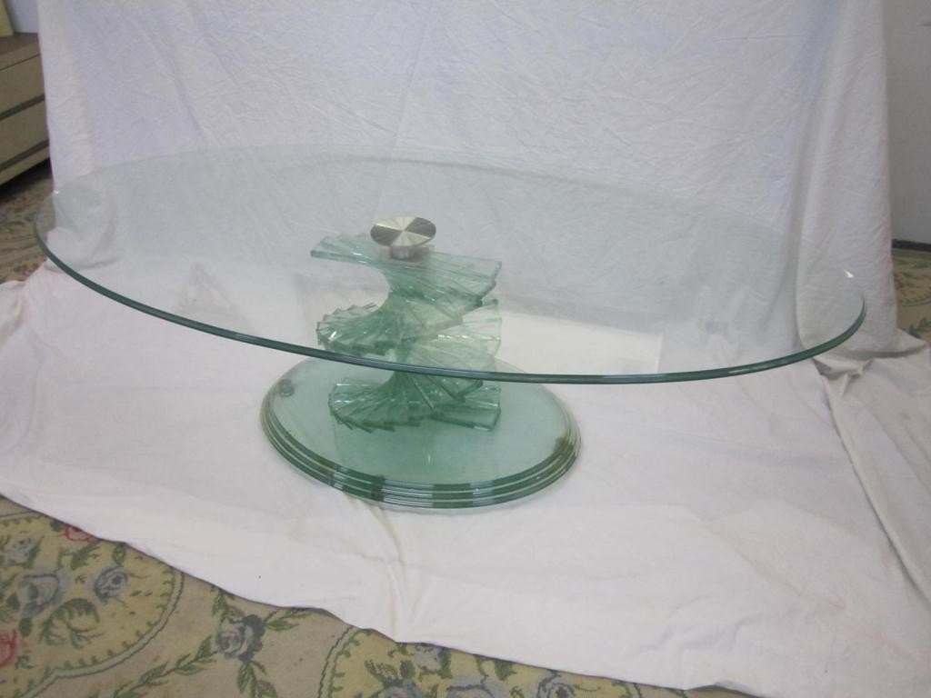Modern Oval All Glass Coffee Table