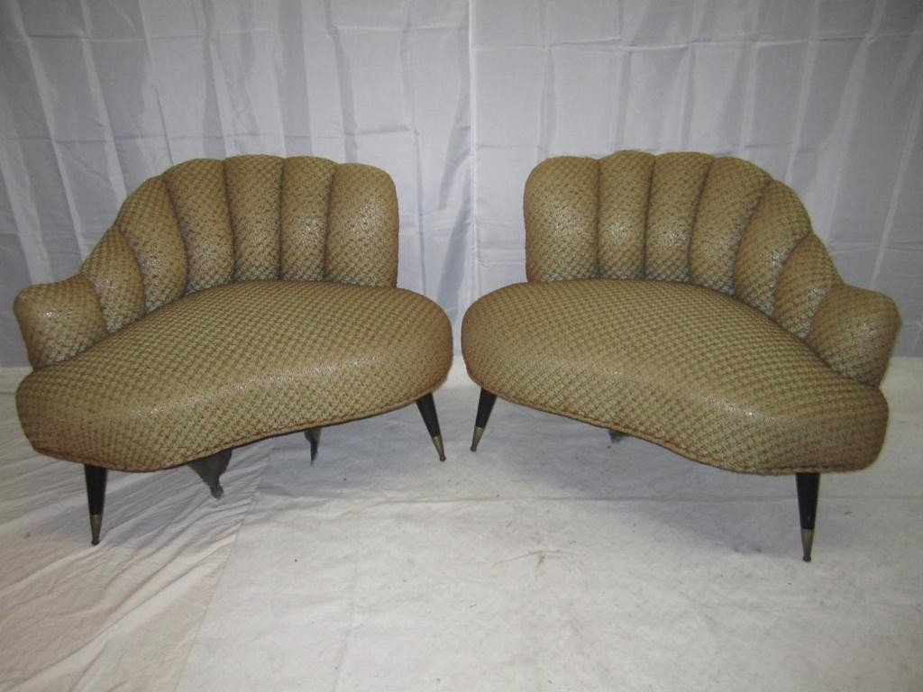 135: Pair 1950's Channel Back Club Chairs