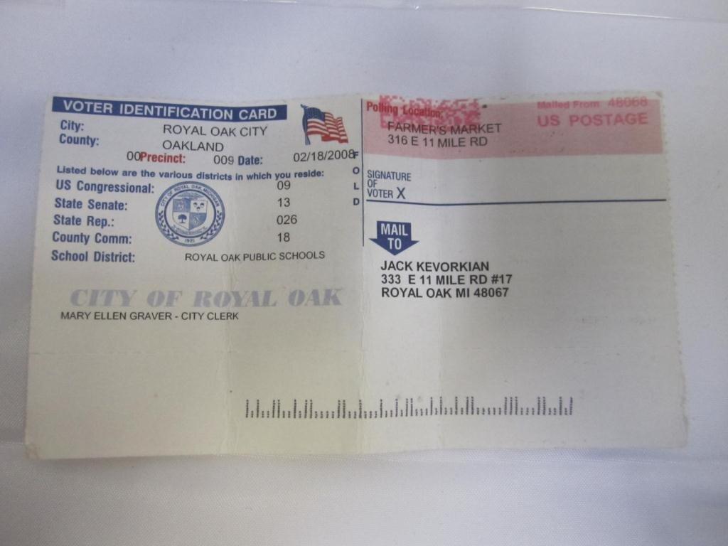 10: Dr. Kevorkian's Voter Registration Card