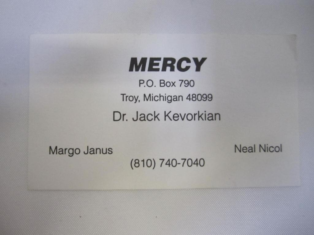 """70: Dr. Kevorkian's Business Card """"MERCY"""""""