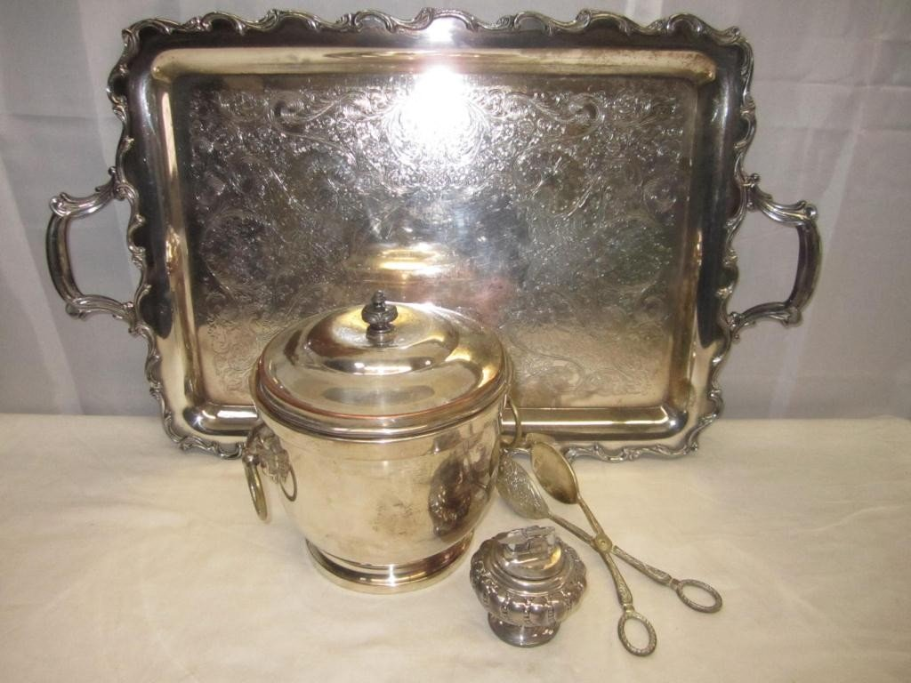 12: 4 Silver Plated Articles - Including tray