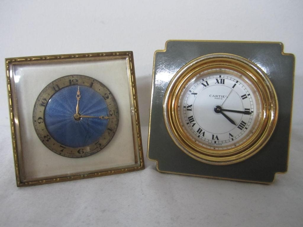 20: 2 Desk Clocks - Cartier and Enameled Dial