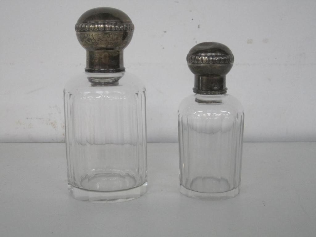 3: Set of 2 Silver Covered Decanters
