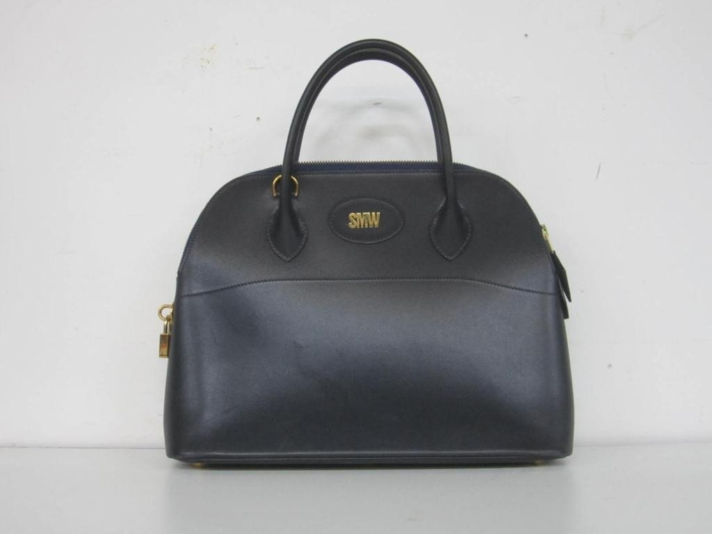 24: Hermes Dark Blue Leather Ladies Bag