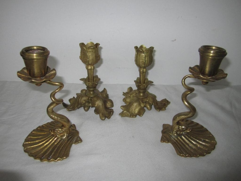 16: 2 Pair Bronze Candlesticks