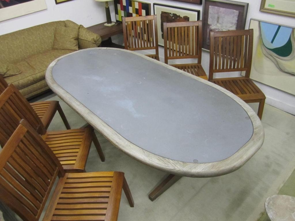 337: Teak Oval Zinc Top Outdoor Dining Table