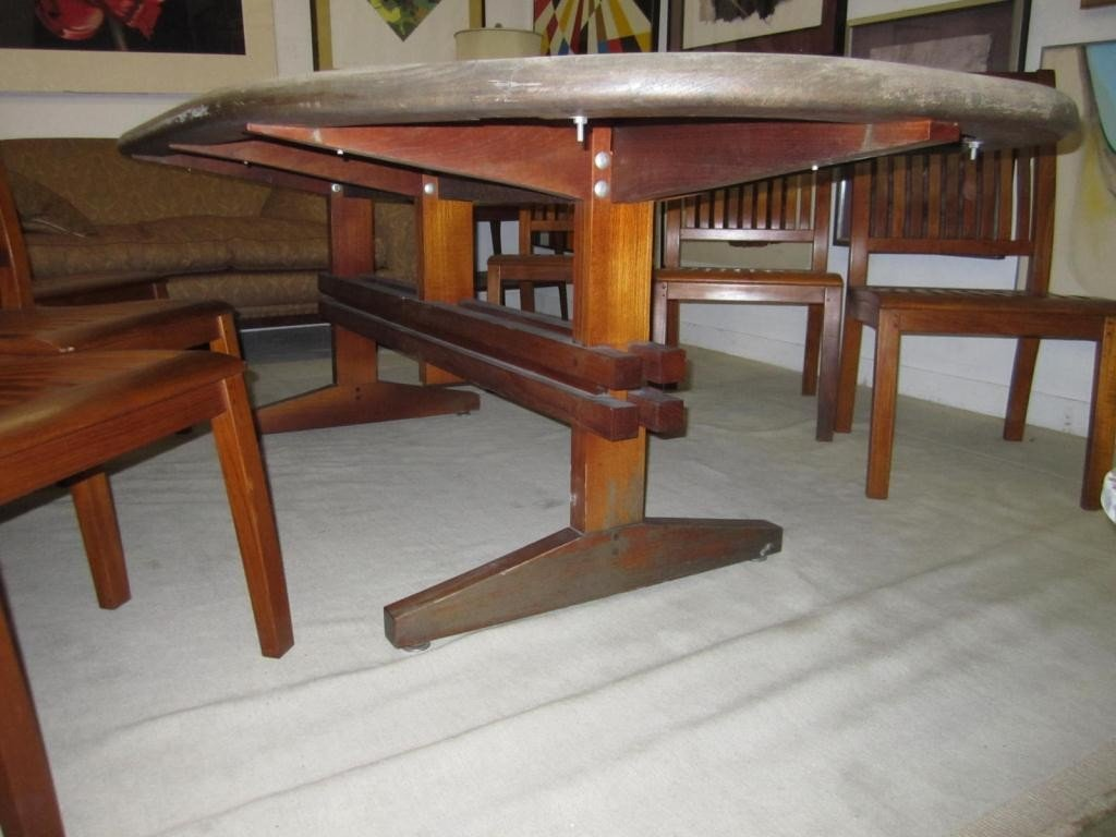 337: Teak Oval Zinc Top Outdoor Dining Table - 2