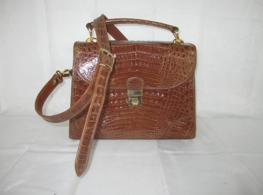 1: Brown Croc/Alligator Ladies Bag