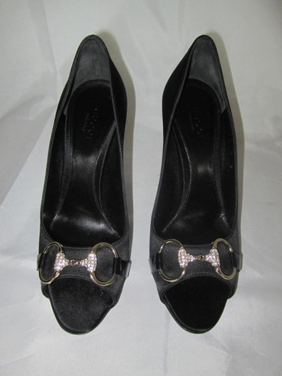 3: Pair Gucci Black Silk Stiletto Pumps