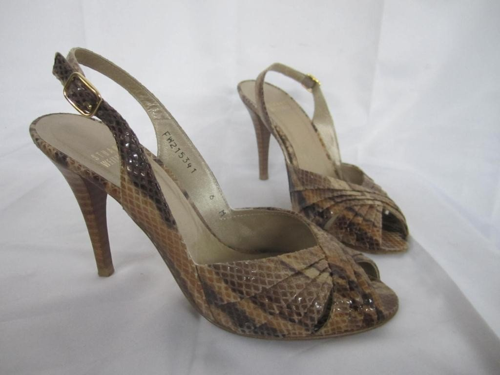 8: Pair Stuart Weitzman Snakeskin Heeled Shoes