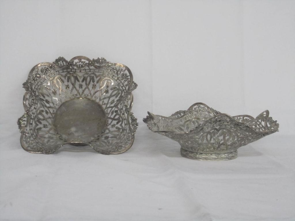 2: Swiss Silver Pair of Openwork Bowls (19th Century)