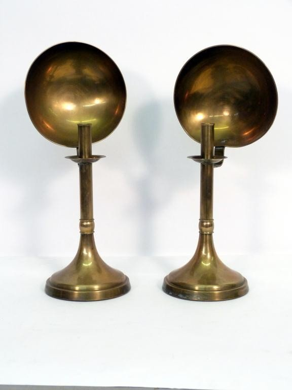 11: Pair Brass Retro Candlesticks