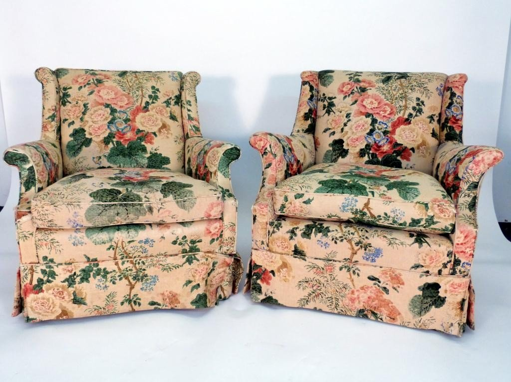 20: Pair Floral Upholstered Club Chairs