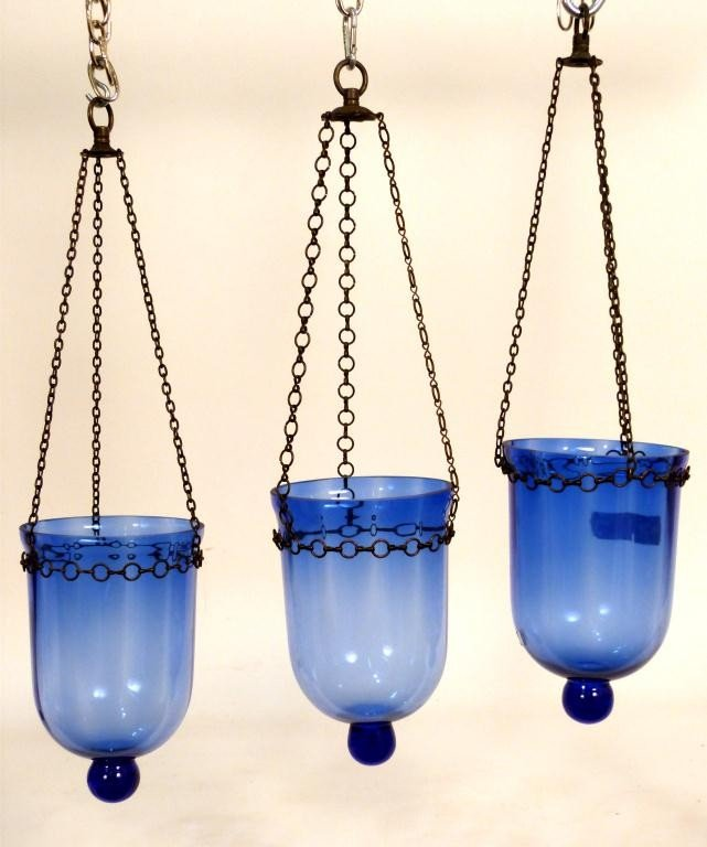 24: 3 Blue Glass Lanterns