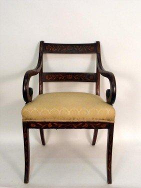 Antique Dutch Marquetry Arm Chair