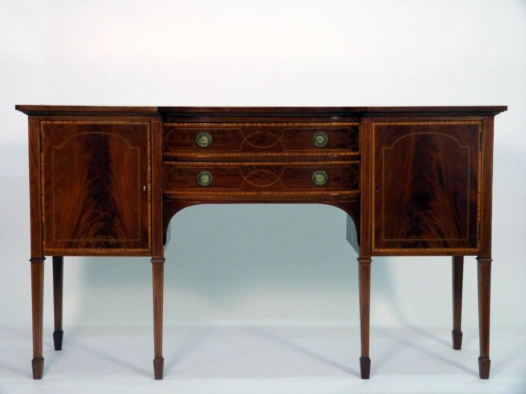 """98: Hepplewhite Style """"D"""" Bowed Front Sideboard"""