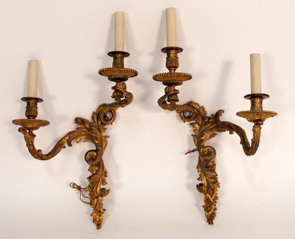 100: Pair Louis XV Style Bronze Sconces