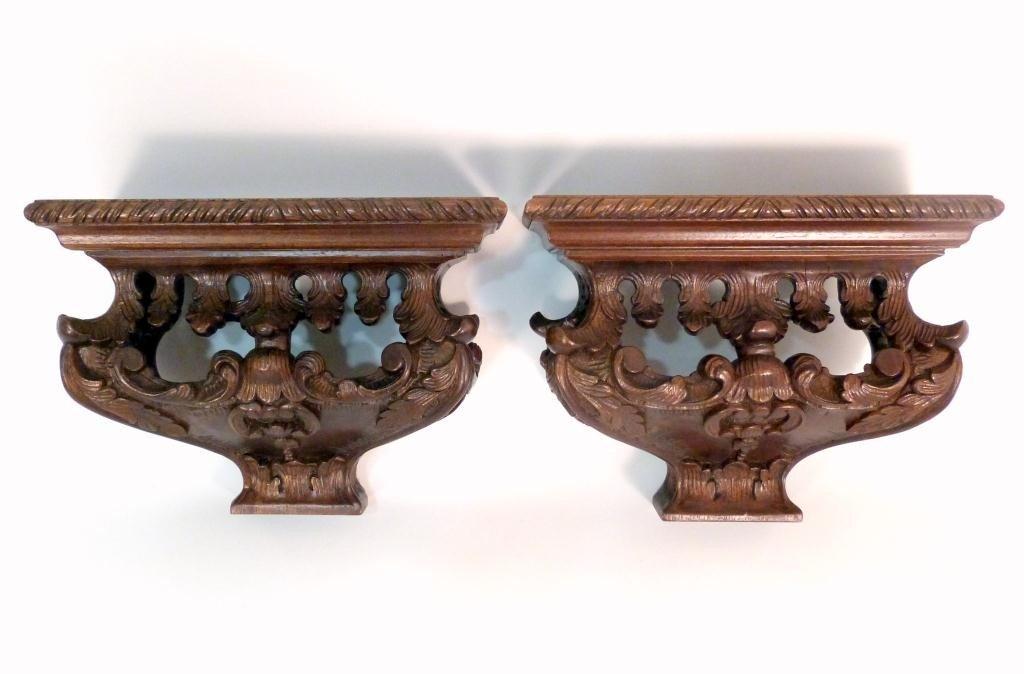 101: Pair Carved Oak Wall Shelf Brackets